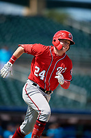 Washington Nationals Jake Randa (24) runs to first base during an Instructional League game against the Miami Marlins on September 25, 2019 at Roger Dean Chevrolet Stadium in Jupiter, Florida.  (Mike Janes/Four Seam Images)