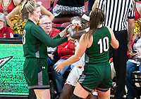 COLLEGE PARK, MD - DECEMBER 8: Ashley Owusu #15 of Maryland battles for the ball with Isabella Therien #13 and Stephanie Karcz #10 of Loyola during a game between Loyola University and University of Maryland at Xfinity Center on December 8, 2019 in College Park, Maryland.