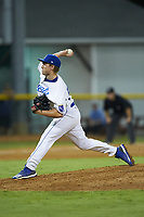 Burlington Royals relief pitcher Jonah Dipoto (58) in action against the Johnson City Cardinals at Burlington Athletic Stadium on September 4, 2019 in Burlington, North Carolina. The Cardinals defeated the Royals 8-6 to win the 2019 Appalachian League Championship. (Brian Westerholt/Four Seam Images)