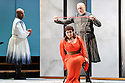 """London, UK. 12.10.2016. English Touring Opera presents """"Ulysses' Homecoming"""" at the Hackney Empire, prior to its UK tour. Picture shows: Adam Music (Amphinomous), Carolyn Dobbin (Penelope), Andrew Slater (Antinous). Photograph © Jane Hobson."""