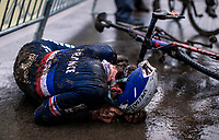 Ugo Ananie (FRA) post race exhausted.<br /> <br /> Men's Junior race<br /> UCI 2020 Cyclocross World Championships<br /> Dübendorf / Switzerland<br /> <br /> ©kramon
