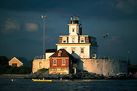 The Rose Island Lighthouse sits near the Newport Bridge and is a popular fishing spot, kayak destination, and turning mark (practically) for evening racing in Narragansett Bay. You can stay in the lighthouse as a keeper for a week or nightly as a guest.