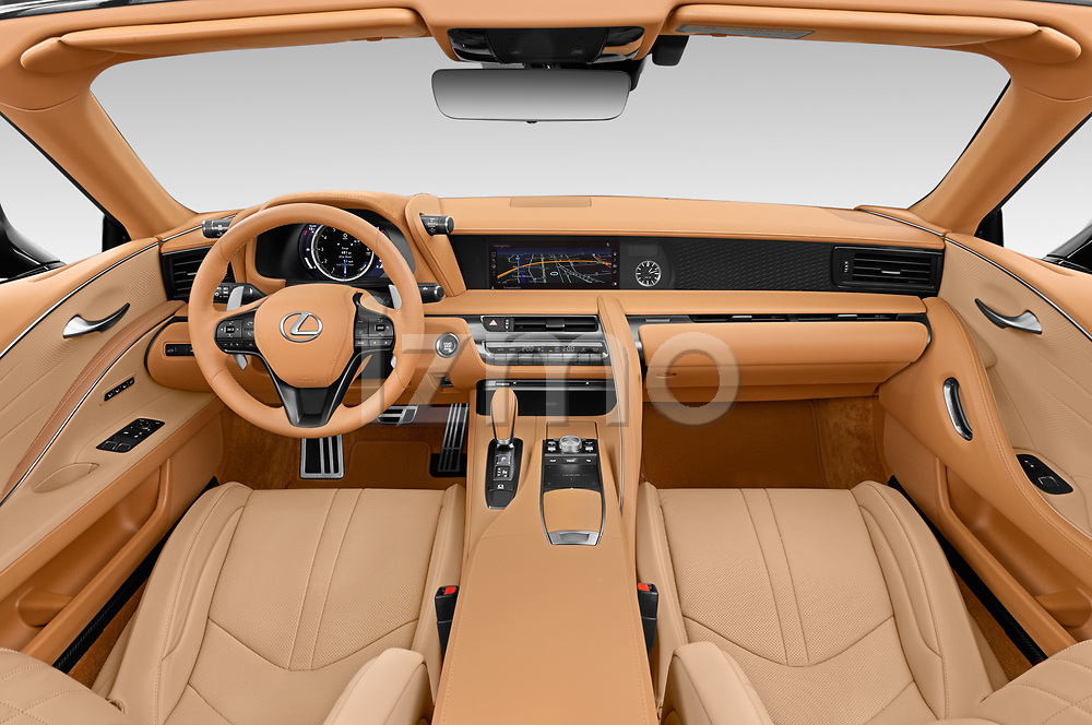 Stock photo of straight dashboard view of 2021 Lexus LC 500-Base 2 Door Convertible Dashboard