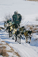 Sunday March 11, 2007   ----    Currently in first place, Jeff King runs up a hill onto the tundra from the Unalakleet river nearing Unalakleet on Sunday afternoon.
