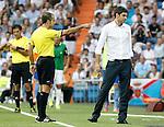 Valencia's coach Mauricio Pellegrino have wrods with the referee Mr. Carlos Delgado Ferreira have words during La Liga match.August 19,2012. (ALTERPHOTOS/Acero)