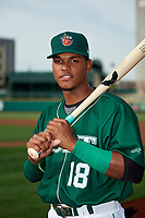 Fort Wayne TinCaps center fielder Jeisson Rosario (18) poses for a photo before a game against the West Michigan Whitecaps on May 17, 2018 at Parkview Field in Fort Wayne, Indiana.  Fort Wayne defeated West Michigan 7-3.  (Mike Janes/Four Seam Images)