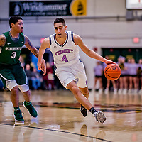 19 January 2019: University of Vermont Catamount Guard Robin Duncan, a Freshman from Evansville, IN, in first half Men's Basketball action against the Binghamton University Bearcats at Patrick Gymnasium in Burlington, Vermont. The Catamounts defeated the Bearcats 78-50 to remain unbeaten in conference play to date this season. Mandatory Credit: Ed Wolfstein Photo *** RAW (NEF) Image File Available ***
