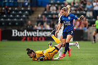 TACOMA, WA - JULY 31: Eugenie Le Sommer #9 of the OL Reign and Michelle Betos #1 of Racing Louisville FC collide during a game between Racing Louisville FC and OL Reign at Cheney Stadium on July 31, 2021 in Tacoma, Washington.