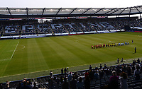 KANSAS CITY, KS - SEPTEMBER 19: FC Dallas and Sporting Kansas City take a knee during the National Anthem performance during a game between FC Dallas and Sporting Kansas City at Children's Mercy Park on September 19, 2020 in Kansas City, Kansas.