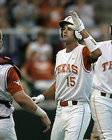 Texas CF Jordan Danks is greeted by teammates against Texas A&M on May 16th, 2008 in Austin Texas. Photo by Andrew Woolley / Baseball America.