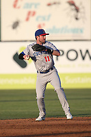 Branden Cogswell (11) of the Stockton Ports throws to first base during a game against the Lancaster JetHawks at The Hanger on May 12, 2017 in Lancaster, California. Lancaster defeated Stockton, 7-2. (Larry Goren/Four Seam Images)