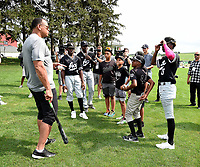 DYERSVILLE, IOWA - AUGUST 11: Fox Sports announcer Alex Rodriguez meets the Chicago ACE youth baseball team before the game at the MLB Field of Dreams on August 11, 2021 in Dyersville, Iowa. The MLB Field of Dreams game between the Yankees and White Socks will be on August 12 on Fox. (Photo by Frank Micelotta/Fox Sports/PictureGroup)