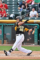 Roberto Lopez (30) of the Salt Lake Bees at bat against the Albuquerque Isotopes at Smith's Ballpark on May 21, 2014 in Salt Lake City, Utah.  (Stephen Smith/Four Seam Images)