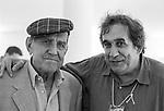 """Festival di Venezia 1999 _ Rodolfo Sonego, sceneggiatore e Tatti Sanguineti<br /> fotografati nel Palazzo del Cinema in occasione della proiezione speciale del film ritrovato """"Totò e Carolina"""""""
