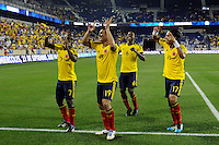 Teofilo Gutierrez (19) of Colombia celebrates scoring with Pablo Armero (7), Carlos Sanchez (6), and Dayro Moreno (17). The men's national teams of Colombia (COL) defeated Honduras (HON) 2-0 during an international friendly at Red Bull Arena in Harrison, NJ, on September 03, 2011.