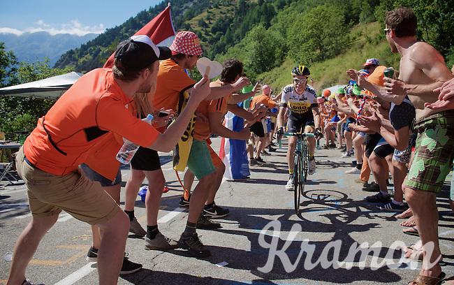 Bram Tankink (NLD/LottoNL-Jumbo) experiencing the craziness at the Dutch Corner (nr7) up Alpe d'Huez<br /> <br /> stage 20: Modane Valfréjus - Alpe d'Huez (111km)<br /> 2015 Tour de France