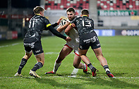 2nd January 2021 | Ulster vs Munster <br /> <br /> Stuart McCloskey is tackled by Liam Coombes and Dan Goggin during the PRO14 Round 10 clash between Ulster Rugby and Munster Rugby at the Kingspan Stadium, Ravenhill Park, Belfast, Northern Ireland. Photo by John Dickson/Dicksondigital