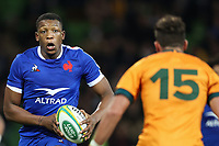 13th July 2021; AAMI Park, Melbourne, Victoria, Australia; International test rugby, Australia versus France; Cameron Woki of France runs with the ball as Banks of Australia sets to tackle