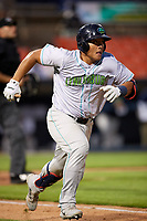 Lynchburg Hillcats catcher Li-Jen Chu (27) runs to first base during the second game of a doubleheader against the Frederick Keys on June 12, 2018 at Nymeo Field at Harry Grove Stadium in Frederick, Maryland.  Frederick defeated Lynchburg 8-1.  (Mike Janes/Four Seam Images)