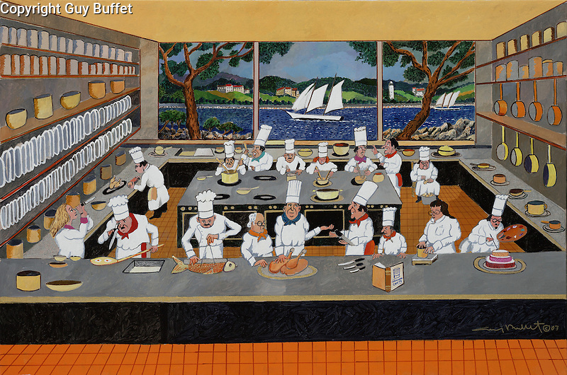 """""""Creative Cooking by the Sea""""<br /> Limited Edition Giclee Paper 22x31<br /> AP w/Original Watercolor Remarque Only Available $1,900<br /> Commissioned in 2007 by International Corporate Chef's Association's 5th Anniversary Summit in Newport, RI, during the Tall Ship Parade of Sail, which can be seen in the background of this hilariously curious display of chefs busy in their kitchen!"""