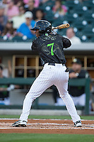Tim Anderson (7) of the Charlotte Knights at bat against the Columbus Clippers at BB&T BallPark on May 3, 2016 in Charlotte, North Carolina.  The Clippers defeated the Knights 8-3.  (Brian Westerholt/Four Seam Images)