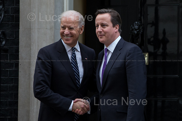 David Cameron (British Prime Minister) and Joe Biden (Vice President of the United States).<br /> <br /> London, 05/02/2013. Today, Joe Biden, Vice President of the United States, visited 10 Downing Street where he met with the British Prime Minister David Cameron and the Deputy Prime Minister Nick Clegg.