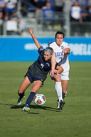 Cary, North Carolina - Sunday December 6, 2015: Taylor Racioppi (7) of the Duke Blue Devils battles for the ball with Maddie Elliston (5) of the Penn State Nittany Lions during second half action at the 2015 NCAA Women's College Cup at WakeMed Soccer Park.  The Nittany Lions defeated the Blue Devils 1-0.