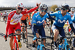 Spanish riders Luis Angel Mate(ESP) Cofidis with Alejandro Valverde and Jose J. Rojas (ESP) Movistar Team line up for the cameras during Stage 18 of the Vuelta Espana 2020, running 139.6km from Hipódromo de La Zarzuela to Madrid, Spain. 8th November 2020. <br /> Picture: Luis Angel Gomez/PhotoSportGomez | Cyclefile<br /> <br /> All photos usage must carry mandatory copyright credit (© Cyclefile | Luis Angel Gomez/PhotoSportGomez)