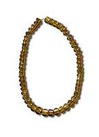 Bronze Age Hattian gold necklace from Grave L,  possibly a Bronze Age Royal grave (2500 BC to 2250 BC) - Alacahoyuk - Museum of Anatolian Civilisations, Ankara, Turkey. Against a white background