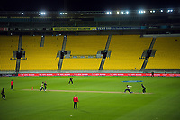 Action from the third international men's T20 cricket match between the New Zealand Black Capss and Australia at Sky Stadium in Wellington, New Zealand on Wednesday, 3 March 2021. Photo: Dave Lintott / lintottphoto.co.nz