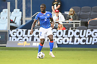 KANSAS CITY, KS - JULY 15: Carlens Arcus #2 of Haiti with the ball during a game between Canada and Haiti at Children's Mercy Park on July 15, 2021 in Kansas City, Kansas.
