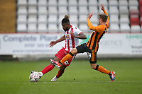 Tyrone Marsh of Stevenage and Regan Slater of Hull City during Stevenage vs Hull City, Emirates FA Cup Football at the Lamex Stadium on 29th November 2020