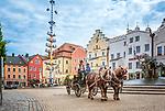 Deutschland, Bayern, Oberpfalz, Naturpark Oberer Bayerischer Wald, Cham: Pferdekutsche auf dem Marktplatz | Germany, Bavaria, Upper Palatinate, Nature Park Upper Bavarian Forest, Cham: horse-drawn carriage at Market Square