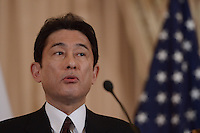Washington, DC - February 7, 2014: Japanese Foreign Minister Fumio Kishida makes remarks to the media after meeting with Secretary of State John Jerry at the State Department, February 7, 2014. (Photo by Don Baxter/Media Images International)