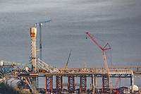 Photo aerienne de la construction du nouveau pont Champlain<br /> <br /> PHOTO : Denis Germain<br />  - Agence Quebec Presse