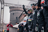 World Champion Peter Sagan (SVK/Bora-Hansgrohe) waving from the sign-on podium<br /> <br /> 109th Milano-Sanremo 2018<br /> Milano > Sanremo (291km)