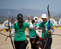 Alejandra Valencia,Aida Roman y ,durante su prticipacion con el equipo Mexicano femenil de Tiro con Arco que se llevo la medalla de Oro en la prueba de 70 metros   de el  torneo  Arizona Cup 2013 en  BEN Avery. 6 abril 2013 en Phoenix Arizona......during his prticipacion with Mexican women's team archery that took the gold medal in the 70 meter test the Arizona Cup tournament 2013 in Ben Avery. April 6, 2013 in Phoenix Arizona