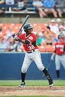 Carolina Mudcats second baseman Erison Mendez (32) at bat during a game against the Frederick Keys on June 4, 2016 at Nymeo Field at Harry Grove Stadium in Frederick, Maryland.  Frederick defeated Carolina 5-4 in eleven innings.  (Mike Janes/Four Seam Images)
