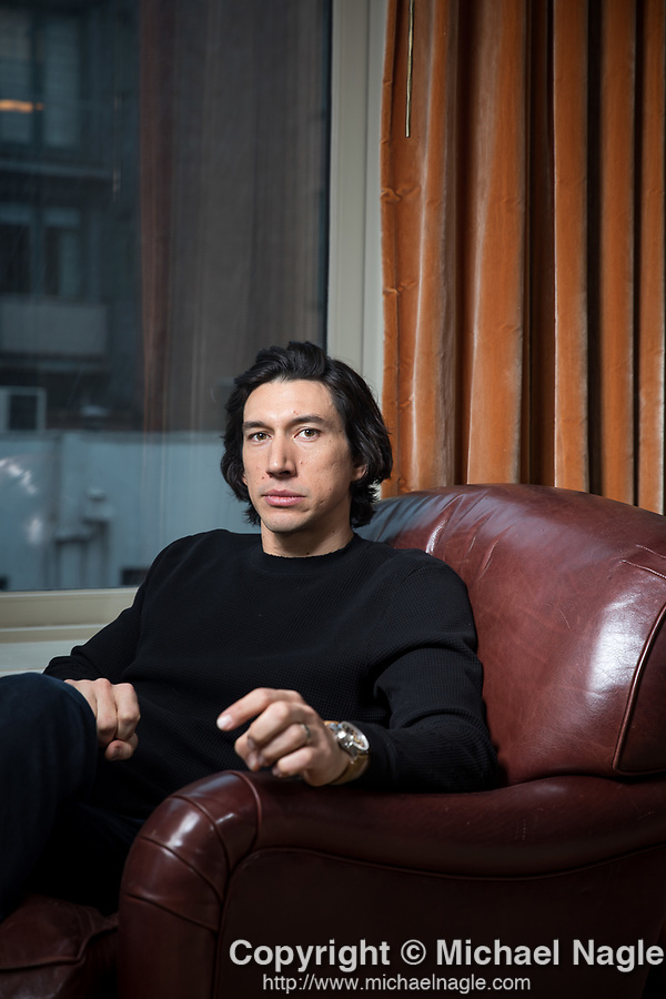 NEW YORK, NY — 12/2/19:  Actor Adam Driver poses for a portrait at the Greenwich Hotel on Monday, December 2, 2019 in New York City.  (PHOTOGRAPH BY MICHAEL NAGLE / FOR THE TIMES)