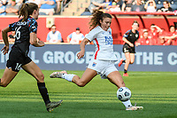 BRIDGEVIEW, IL - JULY 18: Sofia Huerta #11 of the OL Reign kicks the ball during a game between OL Reign and Chicago Red Stars at SeatGeek Stadium on July 18, 2021 in Bridgeview, Illinois.