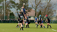 Wednesday 20th March 2019 | 2019 Schools Shield Final<br /> <br /> Adam Pritchard wins this lineout during the 2019 Ulster Schools Cup Final between Sullivan and Bangor Grammar at The Dub Arena, Queens University, Belfast, Northern Ireland. Photo by John Dickson / DICKSONDIGITAL