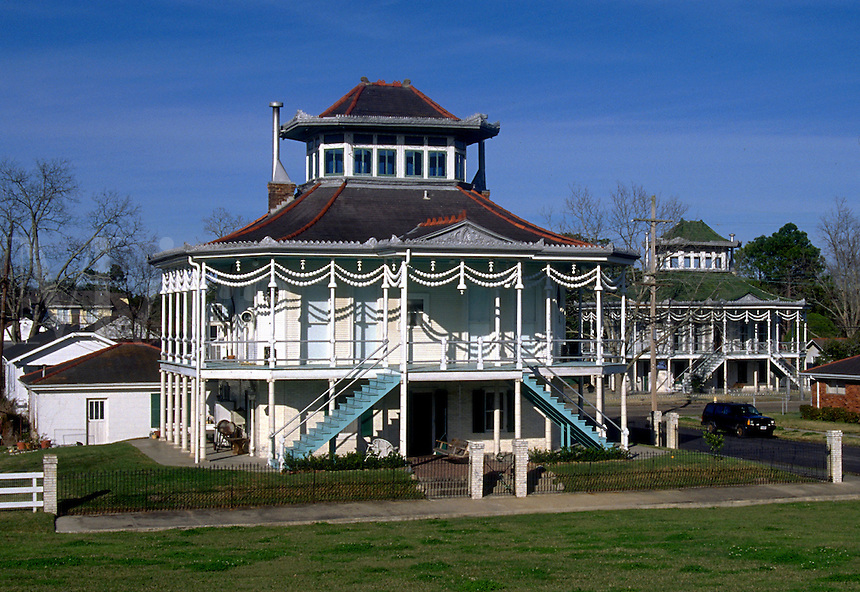 The exterior of the Steamboat House; plantation style. Vacherie, Louisiana.