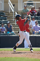 Romy Gonzalez (6) of the Kannapolis Intimidators follows through on his swing against the Delmarva Shorebirds at Kannapolis Intimidators Stadium on May 19, 2019 in Kannapolis, North Carolina. The Shorebirds defeated the Intimidators 9-3. (Brian Westerholt/Four Seam Images)