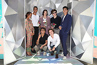 """SANTA MONICA, CA - JUNE 11: (L-R Back Row) Rachel Hilson, Mason Gooding, Ava Capri, Anthony Turpel, Anthony Keyvan, (Front Row) Michael Cimino (L) and George Sear pose for a photo at a special photo-activation in honor of Pride Month and the Season 2 premiere of the Hulu Original Series """"Love, Victor,"""" on June 11, 2021 in Santa Monica, California. (Photo by Frank Micelotta/Hulu/PictureGroup)"""