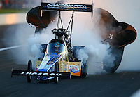 Sep 3, 2016; Clermont, IN, USA; NHRA top fuel driver Morgan Lucas during qualifying for the US Nationals at Lucas Oil Raceway. Mandatory Credit: Mark J. Rebilas-USA TODAY Sports