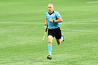 ATLANTA, GA - AUGUST 22: Corey Rockwell assistant referee prepares for second half play during a game between Nashville SC and Atlanta United FC at Mercedes-Benz Stadium on August 22, 2020 in Atlanta, Georgia.