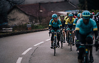Eventual stage winner Simon Yates (GBR/Michelton-Scott) riding in Luis Leon Sanchez' (ESP/Astana) wake. He will not only manage to win the stage,  but take the yellow jersey as well.<br /> <br /> 76th Paris-Nice 2018<br /> Stage 7: Nice > Valdeblore La Colmiane (175km)
