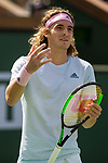 March 9, 2019: Stefanos Tsitsipas (GRE) reacts during his match where he was defeated by Felix Auger-Aliassime (CAN) 6-4, 6-2 at the BNP Paribas Open at the Indian Wells Tennis Garden in Indian Wells, California. ©Mal Taam/TennisClix/CSM