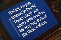 """A computer controlling the TelePrompTer displays the beginning of Democratic presidential candidate and Vermont senator Bernie Sanders speech in response to President Donald Trump's State of the Union address earlier that night at The Currier Museum of Art in Manchester, New Hampshire, on Tue., Feb. 4, 2020. Sanders' speech began, """"Tonight, we just listened to Donald Trump's third, and what I believe will be his very last, State of the Union Address."""""""