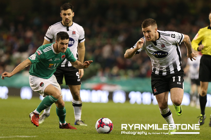 Patrick McEleney of Dundalk in action against Jimmy Keohane of Cork City during the Irish Daily Mail FAI Cup Final between Dundalk and Cork City, on Sunday 4th November 2018, at the Aviva Stadium, Dublin. Mandatory Credit: Michael P Ryan.